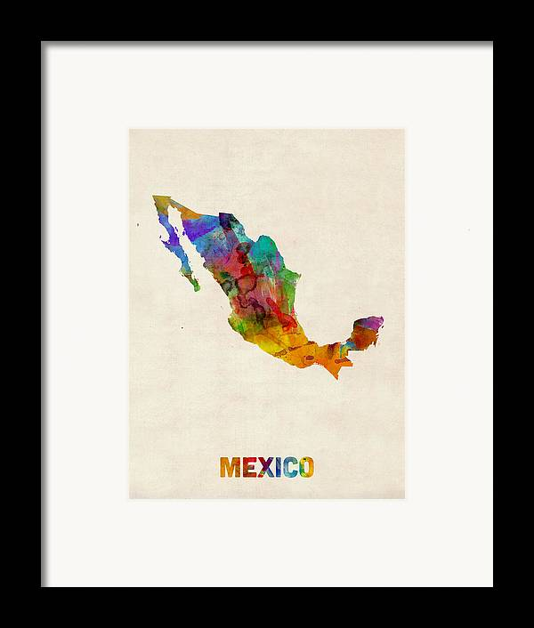 Map Art Framed Print featuring the digital art Mexico Watercolor Map by Michael Tompsett