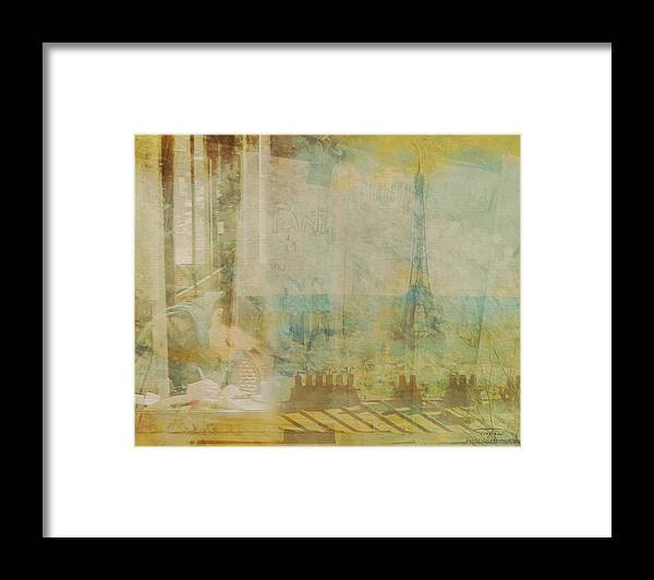 Paris Framed Print featuring the drawing Mgl - City Collage - Paris 04 by MGL Meiklejohn Graphics Licensing