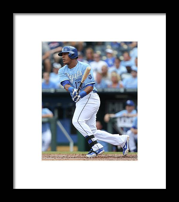 Salvador Perez Diaz Framed Print featuring the photograph Miami Marlins V Kansas City Royals by Ed Zurga