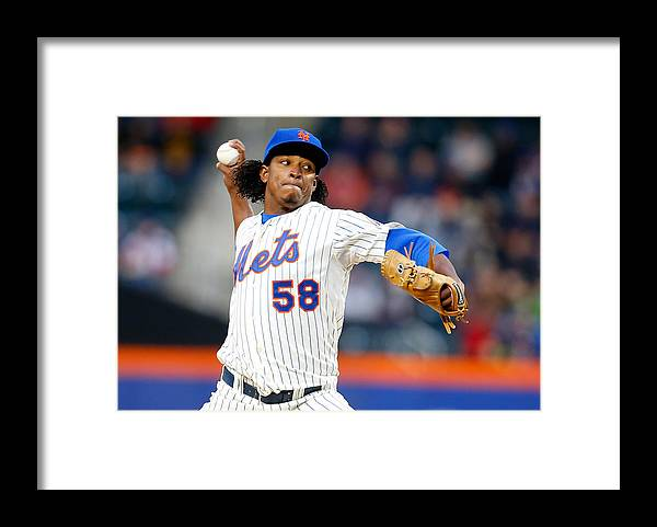 American League Baseball Framed Print featuring the photograph Miami Marlins V New York Mets by Mike Stobe
