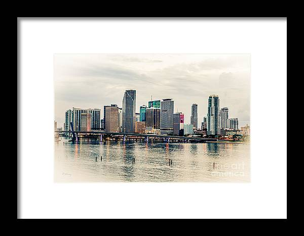 Miami Skyline Art Deco Processing Framed Print by Rene Triay Photography
