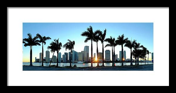 Downtown District Framed Print featuring the photograph Miami Skyline Viewed Over Marina by Travelpix Ltd