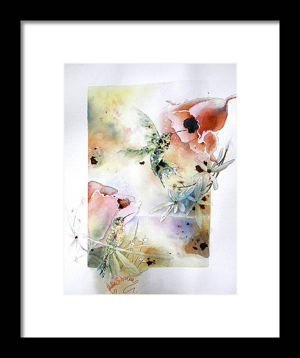 Humming Bird Framed Print featuring the painting Mica Jewels by Julie Schroeder