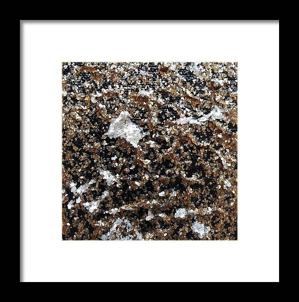 Mica Framed Print featuring the painting Mica Trial Gold With Pearl by Brenda Stevens Fanning
