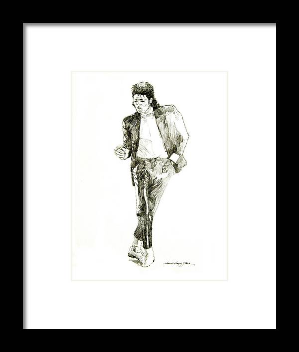 Michael Jackson Framed Print featuring the drawing Michael Jackson Billy Jean by David Lloyd Glover