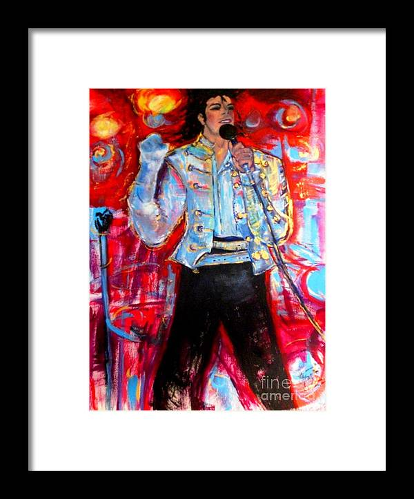 Michael Jackson Framed Print featuring the painting Michael Jackson I'll Be There by Helena Bebirian