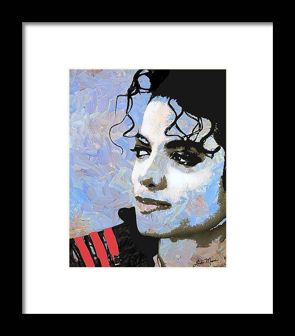 Michael Jackson Framed Print featuring the digital art Michael Jackson Blue And White by Linda Mears