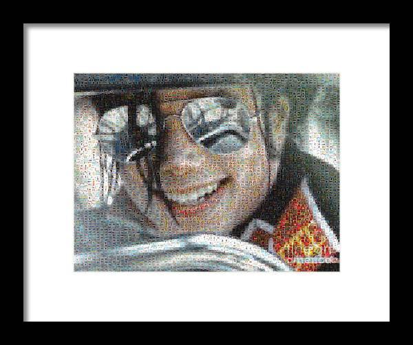 Michael Framed Print featuring the digital art Michael Jackson - Mosaic by Paulette B Wright