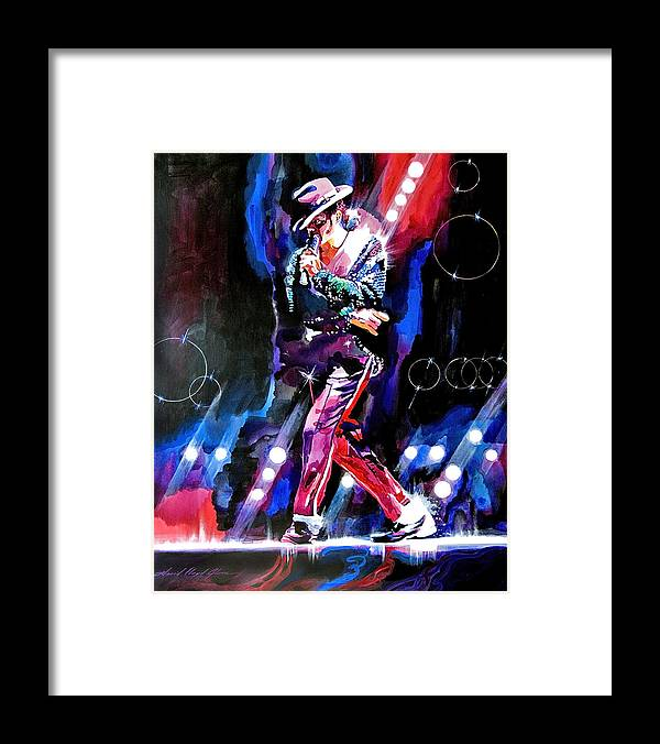 Michael Jackson Framed Print featuring the painting Michael Jackson Moves by David Lloyd Glover