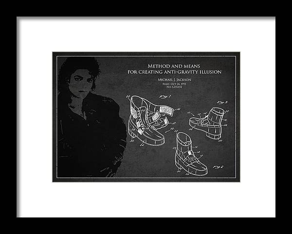 Michael Jackson Framed Print featuring the digital art Michael Jackson Patent by Aged Pixel