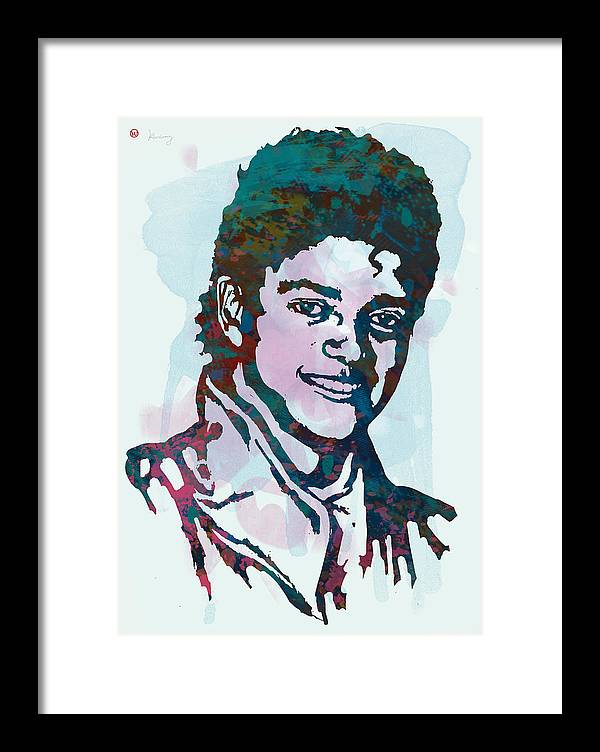Michael Jackson Stylised Pop Art Drawing Sketch Poster. Pop Art Framed Print featuring the drawing Michael Jackson stylised pop art poster by Kim Wang