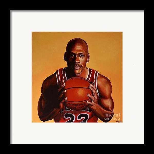 Michael Jordan Framed Print featuring the painting Michael Jordan 2 by Paul Meijering
