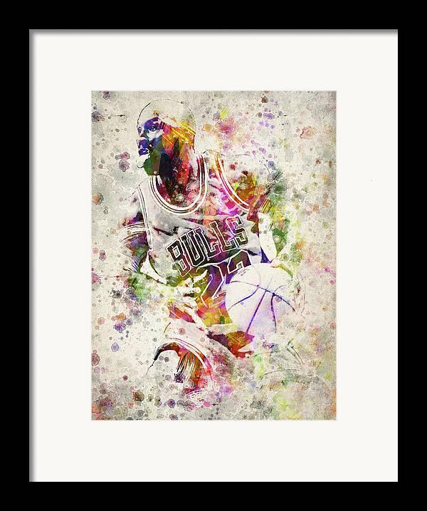 Michael Jordan Framed Print featuring the digital art Michael Jordan by Aged Pixel