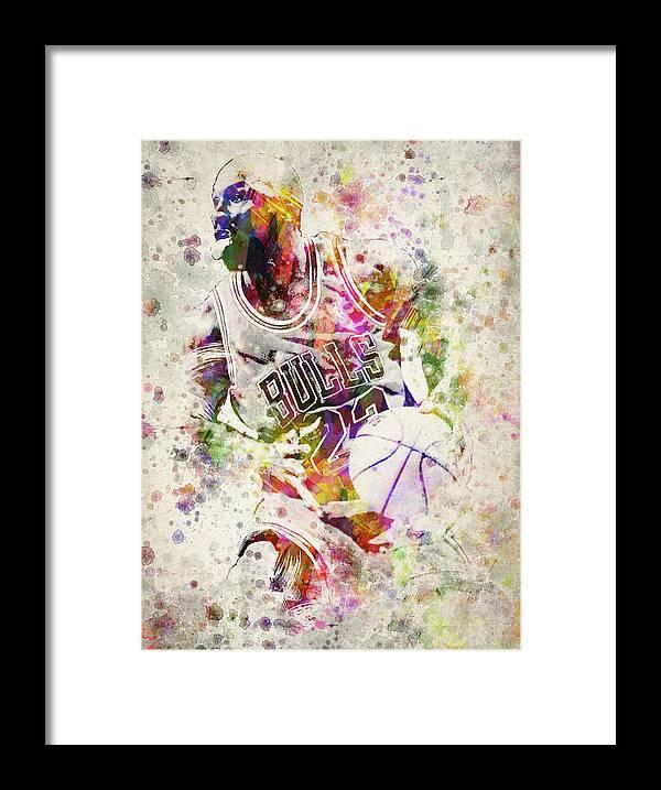 Michael Jordan Framed Print by Aged Pixel