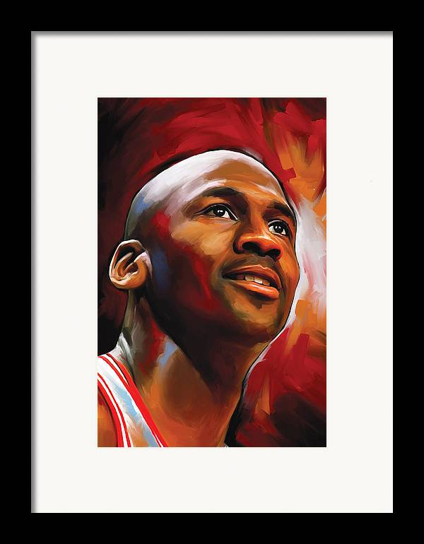Nba Framed Print featuring the painting Michael Jordan Artwork 2 by Sheraz A