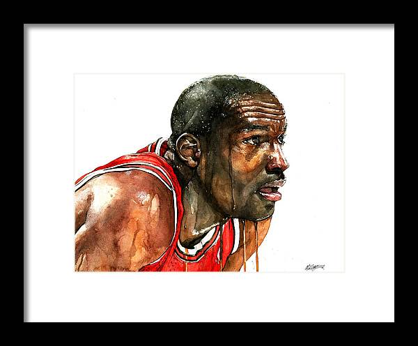 f2c7553178fca3 Michael Framed Print featuring the painting Michael Jordan Early Days by  Michael Pattison. Wall View 001