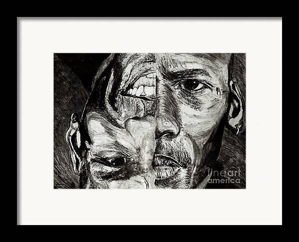 Michael Jordan Framed Print featuring the drawing Michael Jordan Reversible Game Faces by Israel Torres