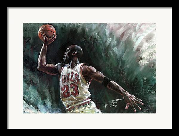 Michael Jordan Framed Print featuring the pastel Michael Jordan by Ylli Haruni