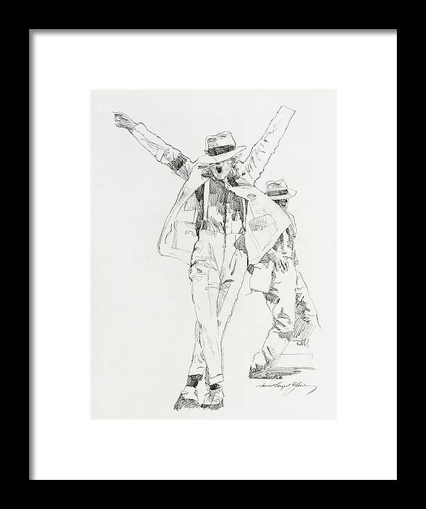 Michael Jackson Framed Print featuring the drawing Michael Smooth Criminal by David Lloyd Glover