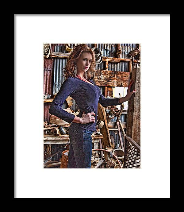 Model Framed Print featuring the photograph Michaela Jerome 1 by Joel Gilgoff