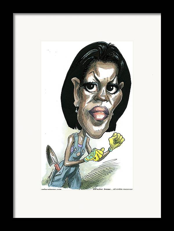 Michelle Framed Print featuring the drawing Michelle Obama by Taylor Jones