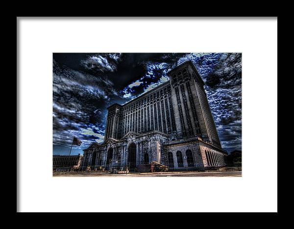 Michigan Central Station Framed Print featuring the photograph Michigan Central Station Hdr by Jonathan Davison
