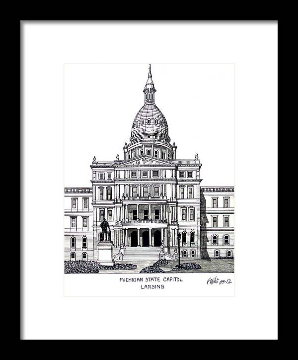 Michigan State Capitol Drawing Framed Print featuring the drawing Michigan State Capitol by Frederic Kohli