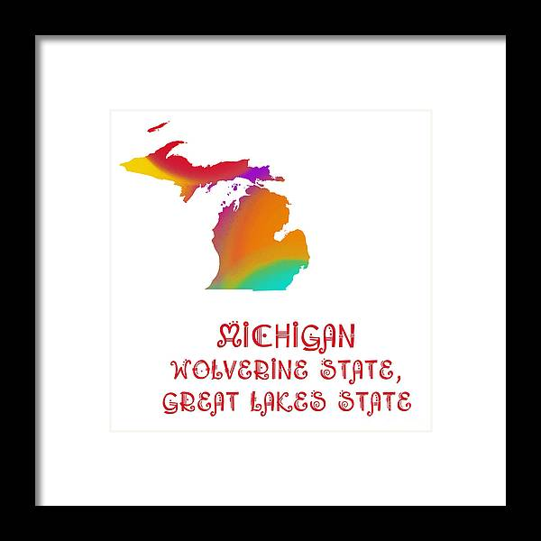 Andee Design Framed Print featuring the digital art Michigan State Map Collection 2 by Andee Design