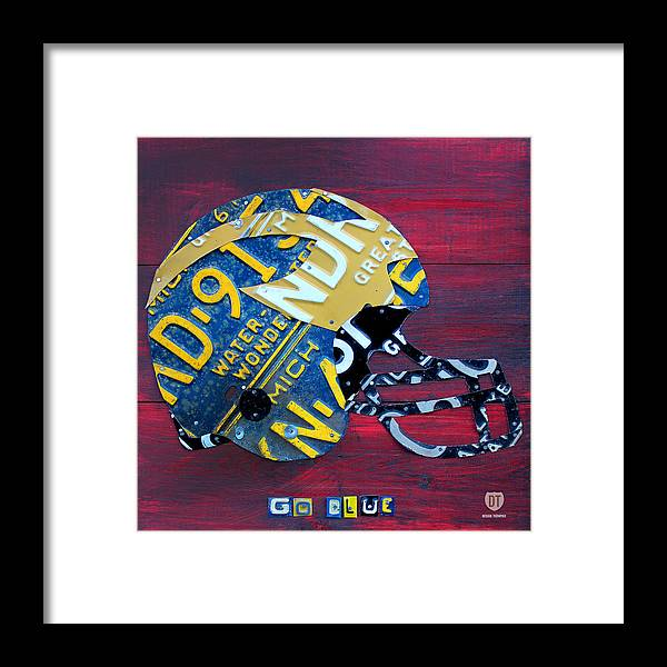 Michigan Framed Print featuring the mixed media Michigan Wolverines College Football Helmet Vintage License Plate Art by Design Turnpike
