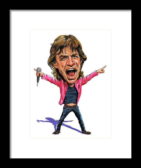 Mick Jagger Framed Print featuring the painting Mick Jagger by Art