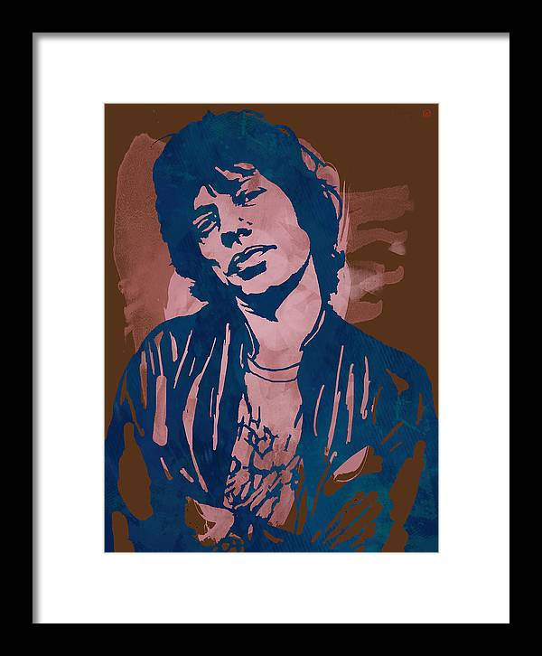 Sir Michael Philip Jagger Framed Print featuring the drawing Mick Jagger - Pop Stylised Art Sketch Poster by Kim Wang