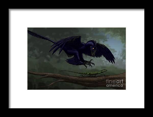 Microraptor Hunting A Small Lizard Framed Print by Vitor Silva