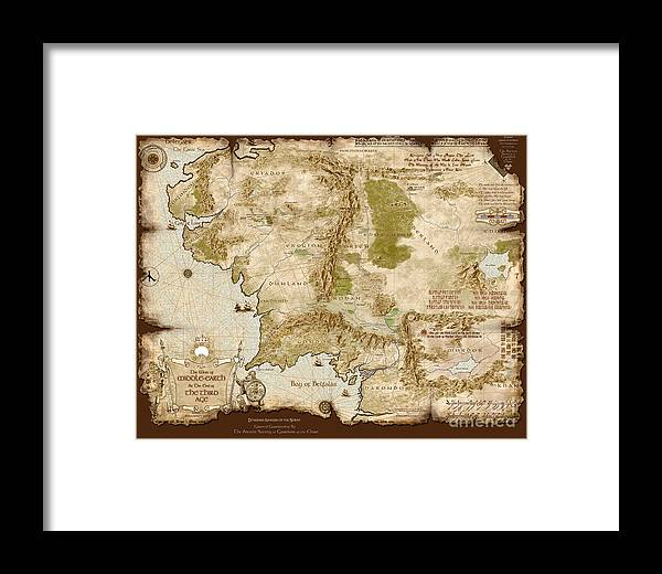 Middle earth Map Burnt edges Framed Print by Anthony Forster