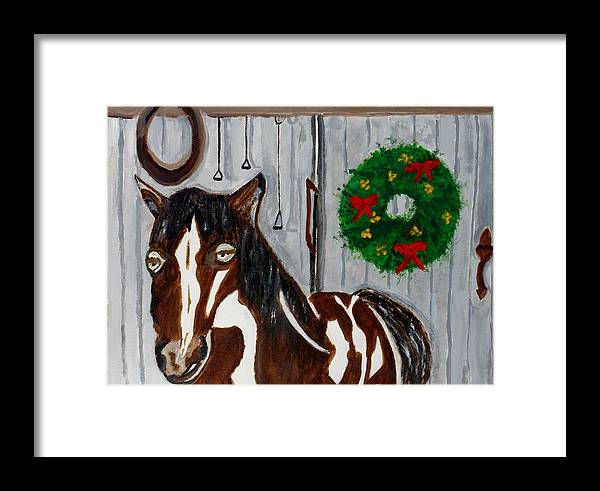Horse Framed Print featuring the painting Midnight by Ann Whitfield
