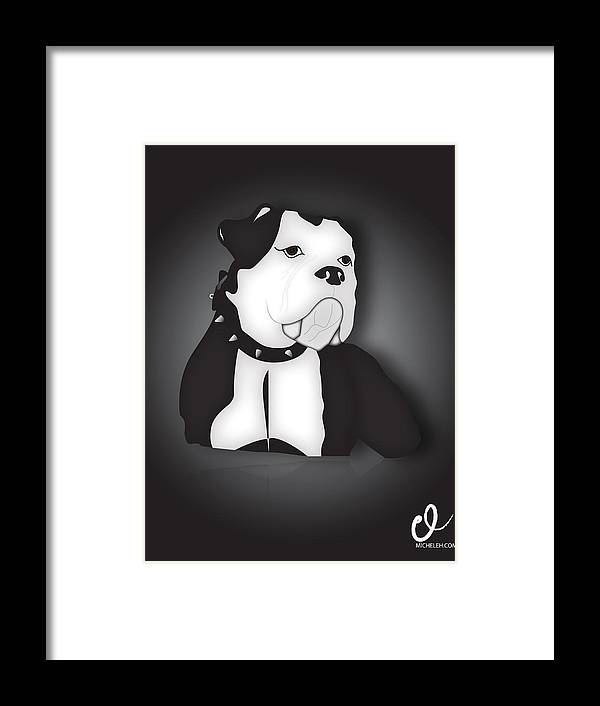 Dog Framed Print featuring the digital art Midnight Bully by Micheleh Center