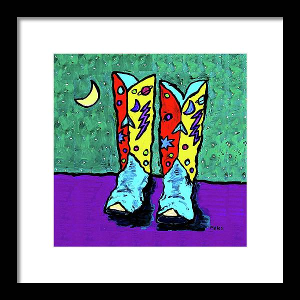 Cowboy Boots Framed Print featuring the painting Midnight Cowboy Boots by Dale Moses