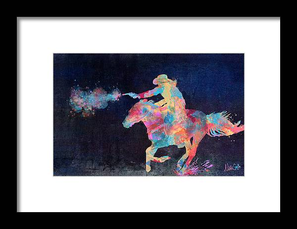 Cowgirl Framed Print featuring the digital art Midnight Cowgirls Ride Heaven Help The Fool Who Did Her Wrong by Nikki Marie Smith