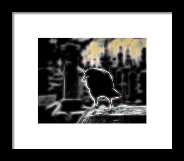 Crow Art Framed Print featuring the digital art Midnight Glow Crow by Gothicrow Images
