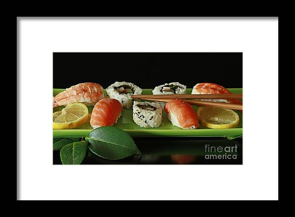 Midnight Sushi Indulgence Framed Print featuring the photograph Midnight Sushi Indulgence by Inspired Nature Photography Fine Art Photography