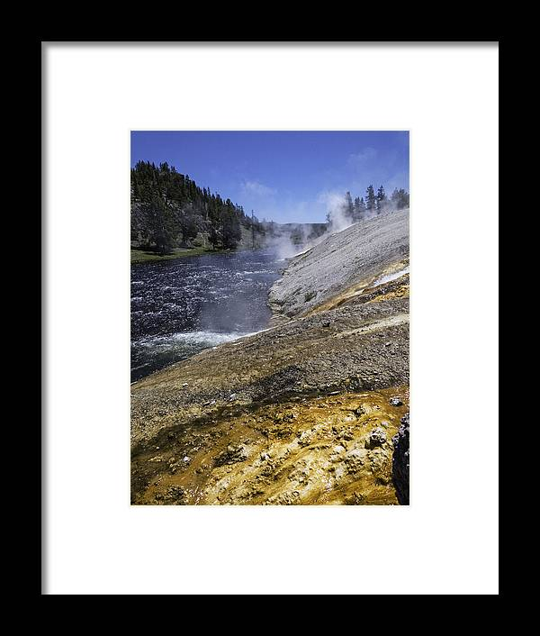 Midway Geyser Basin Framed Print featuring the photograph Midway Geyser Runoff by Carolyn Fox