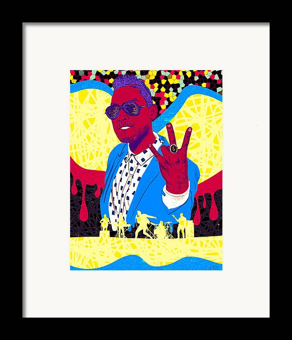 Miguel Drawing In Lines Framed Print featuring the digital art Miguel Drawing In Lines by Kenal Louis