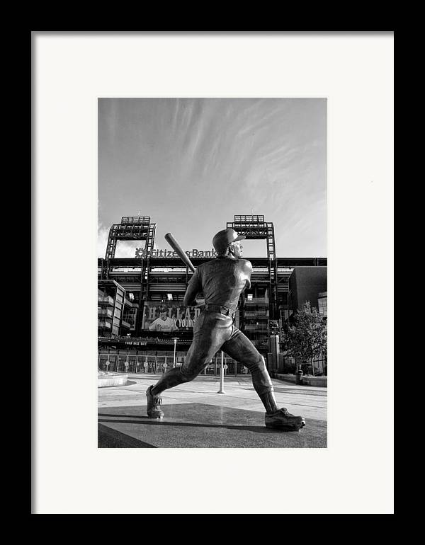 Mike Framed Print featuring the photograph Mike Schmidt Statue In Black And White by Bill Cannon