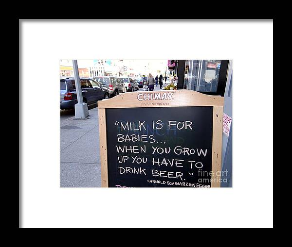 Sign Framed Print featuring the photograph Milk Is For Babies by Ed Weidman