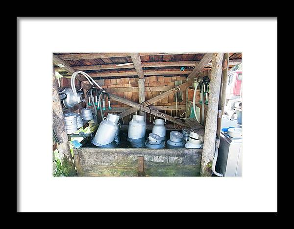 Agriculture Framed Print featuring the photograph Milk Urns Cooling In Spring Water by Photostock-israel