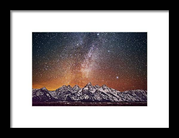 Tranquility Framed Print featuring the photograph Milky Way Over Grand Teton by Chen Su