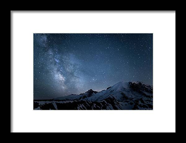 Scenics Framed Print featuring the photograph Milky Way Over Mount Rainier by Ed Leckert