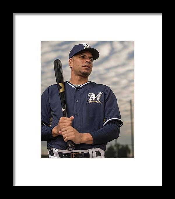 Media Day Framed Print featuring the photograph Milwaukee Brewers Photo Day by Rob Tringali