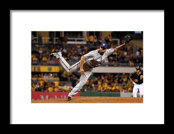 Ninth Inning Framed Print featuring the photograph Milwaukee Brewers V Pittsburgh Pirates by Justin K. Aller