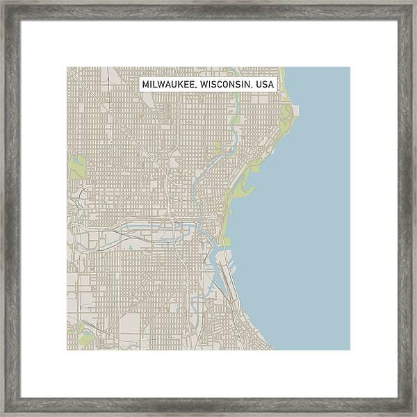 Wisconsin On A Us Map.Milwaukee Wisconsin Us City Street Map Framed Print By Frankramspott