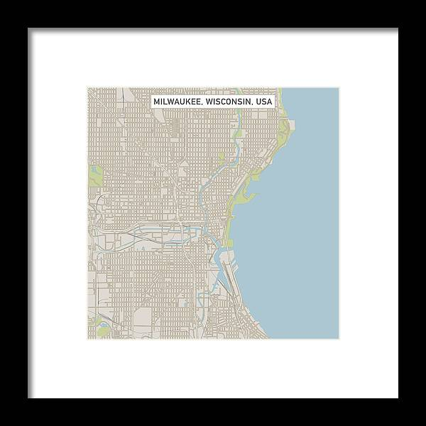 Milwaukee Wisconsin Us City Street Map Framed Print by FrankRamspott